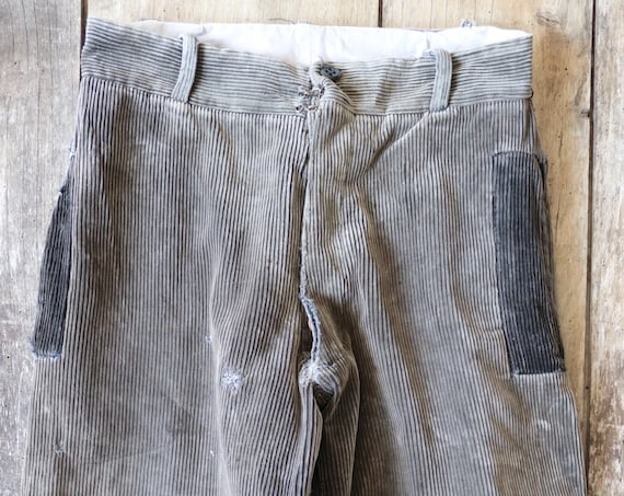"""Vintage 1940s 40s french taupe grey brown corduroy patched repaired corduroy hunting riding breeches 29"""" x 23"""" work workwear chore darned"""