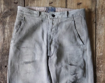 """Vintage 1950s 50s french grey pique corduroy work trousers workwear chore button fly 29"""" x 27"""""""