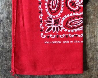 Vintage 1960s 60s turkey red colour color fast bandana neckerchief pocket square western cowboy rockabilly RN 14193