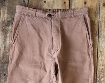 """Vintage 1960s 60s French brown cotton twill work chore workwear trousers pants darned repaired 34"""" x 24"""""""