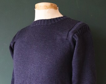 "Vintage navy blue Guernsey gansey fisherman sweater jumper wool Breton 36"" chest work workwear chore knitwear hand knitted knit"