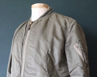 "Vintage 1970s 70s USAF us air force alpha industries MA-1 MA 1 flight jacket khaki green orange rescue lining military 47"" chest Vietnam era"