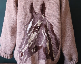 """Vintage hand knitted handmade brown chunky cowichan sweater cardigan jumper horse novelty knit 48"""" chest shawl collar"""