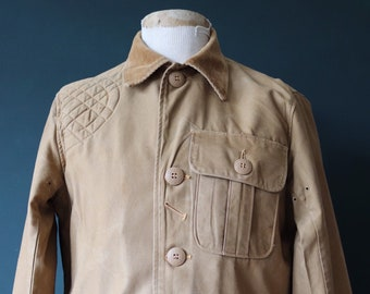 "Vintage 1950s 50s JC Higgins tan brown hunting shooting cotton canvas jacket work workwear chore 44"" chest safari"