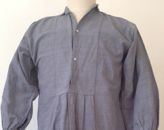 """Vintage antique 1900s french indigo dyed linen shirt 40"""" chest pin tuck pleat work workwear chore smock"""