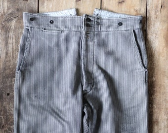 """Vintage 1950s 50s french grey pique corduroy work trousers workwear chore button fly buckle cinch back suspender buttons 36"""" x 27"""""""