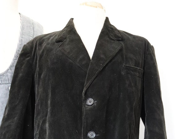 "Vintage 1950s 50s french Le Mont St Michel black corduroy cord jacket hunting 44"" chest work workwear chore"