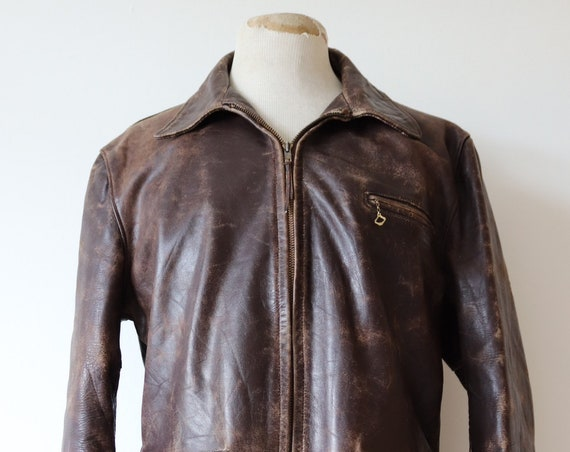 "Vintage 1940s 40s 1950s 50s Sears Roebuck Hercules horsehide brown leather jacket 44"" chest Talon zipper rockabilly half belt car coat"