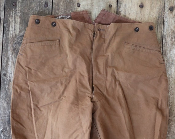 Vintage 1960s 60s deadstock french tan brown cotton canvas hunting riding breeches trousers leg lacing button fly buckle cinch ba