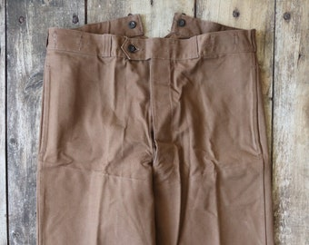RESERVED Vintage 1960s 60s french deadstock brown cotton canvas tin cloth train engineer trousers pants workwear work chore buckle cinch bac