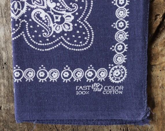 Vintage 1950s 50s trunk up Elephant brand cotton colourfast colorfast indigo blue bandana pocket square neckerchief floral rockabilly