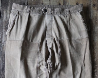 """Vintage 1960s 60s French brown cotton twill work chore workwear trousers pants darned repaired 38"""" x 27"""""""