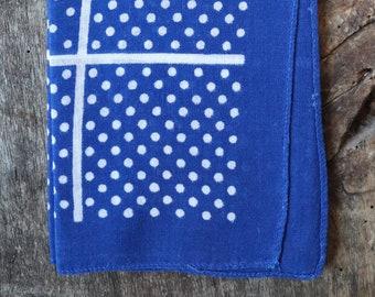 Vintage 1960s 60s indigo blue cotton spotted bandana workwear pocket square cowboy western rockabilly