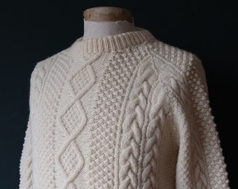 "Vintage cream hand made chunky wool knitted cable knit sweater jumper 43"" chest fisherman workwear work chore crew neck"