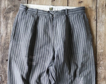 """Vintage 1950s 50s french grey striped stripe work chore trousers pants workwear 31"""" x 27"""" darned repaired sashiko"""
