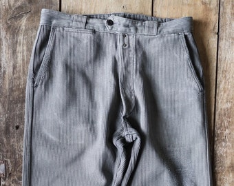 """Vintage 1950s 50s french grey pique corduroy work trousers workwear chore button fly 31"""" x 27"""""""