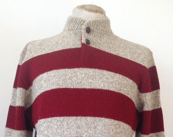 "Vintage red grey marl striped shawl collar knitted jumper sweater moto motorcycle race style rockabilly made in USA 42"" chest"