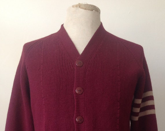 "Vintage 1940s 40s burgundy deep red maroon American varsity sweater cardigan Superior 40"" chest college 100% wool rockabilly Ivy League mod"