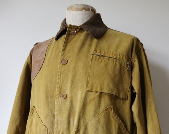 "Vintage 1960s 60s Bullseye Bill cotton canvas hunting jacket 52"" chest XL corduroy collar workwear work shooting waterproof tin cloth"