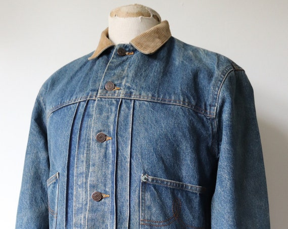 "Vintage 1970s 70s 1980s 80s Polo Ralph Lauren pleated denim jacket type two copper rivets plaid lining 42"" chest corduroy collar"