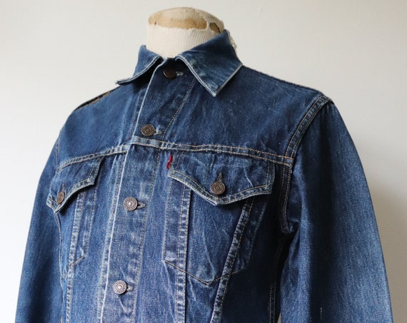 "Vintage 1970s 70s Levis Levi Strauss denim trucker type three jacket capital big E red tab 40"" chest workwear indigo"