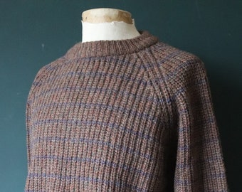 """Vintage brown blue striped knitted wool jumper sweater pullover 47"""" chest raglan sleeve chunky knit"""
