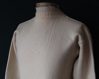 "Vintage cream off white Guernsey gansey fisherman sweater jumper wool Breton 38"" chest work workwear chore knitwear knitted boat neck"