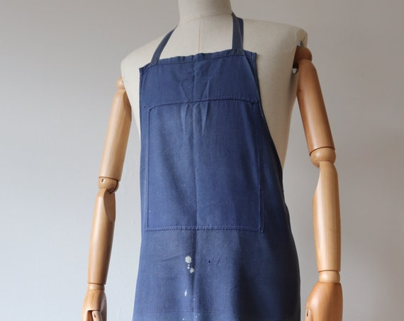 Vintage 1940s 40s French cotton vintner apron pinny faded indigo blue bleu de travail work chore workwear kitchen
