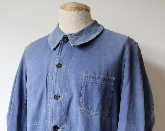 "Vintage 1940s 40s 1950s 50s french indigo blue cotton twill chore work jacket 46"" chest workwear bleu de travail darned"