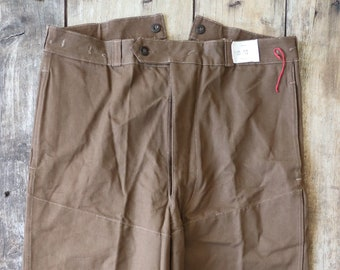 """Vintage 1960s 60s french deadstock brown cotton canvas tin cloth train engineer trousers pants workwear work chore buckle cinch back 38"""""""