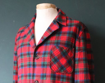 """Vintage 1970s 70s red green blue Pendleton Topster 49er wool plaid checked jacket rockabilly Ivy League style 46"""" chest"""
