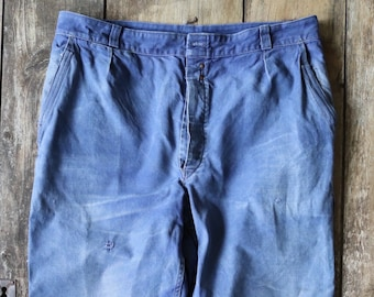 """Vintage 1940s 40s French bleu de travail cotton twill work chore pants trousers workwear faded 36"""" x 28"""""""