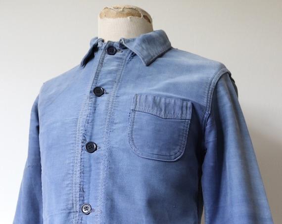 "Vintage 1950s 50s french indigo blue moleskin work jacket workwear chore bleu de travail Le Mont St Michel 40"" chest darned patched repaired"