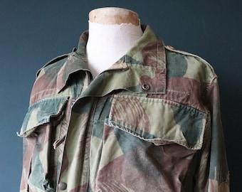 "Vintage 1950s 50s Belgian Denison smock camo camouflage smock anorak jacket 48"" chest RAKA paratrooper Opti donkey tail military"