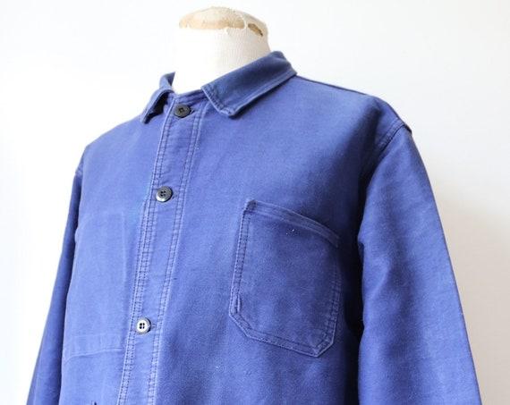 "Vintage 1960s 60s french bleu de travail indigo blue moleskin chore work jacket 52"" chest XL workwear"