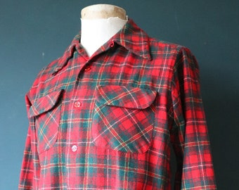 "Vintage 1980s 80s Pendleton red green checked plaid wool board shirt 42"" chest loop collar rockabilly"