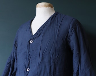 """Vintage 1970s 70s indigo dark blue Czech army tank liner quilted padded jacket military 46"""" chest work workwear chore"""