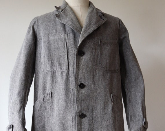 """Vintage 1950s 50s french grey salt pepper long chore work duster atelier coat jacket workwear 41"""" chest factory overalls coverall"""