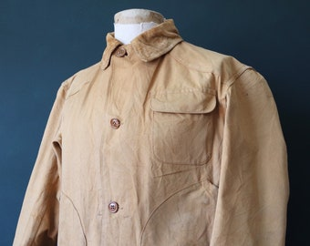 """Vintage 1960s 60s Montgomery Ward tin cloth duck cotton canvas hunting jacket work workwear chore 49"""" chest"""
