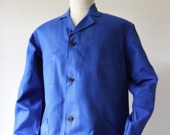"""Vintage 1980s 80s french bleu de travail blue cotton twill long chore work coat jacket factory shop duster 45"""" chest"""