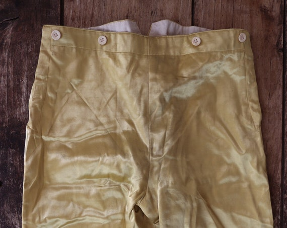 Antique 1880s french gold satin knickerbockers buckle back breeches v notch Parisian theatre costume Mozart Cosi Fan Tutte named