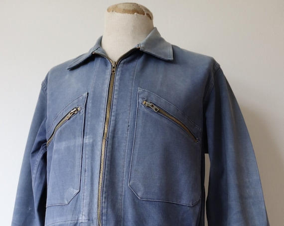 """Vintage 1950s 50s 1960s 60s french sun faded indigo blue work jacket workwear chore cropped cotton twill blouson 46"""" chest Adolphe Lafont"""