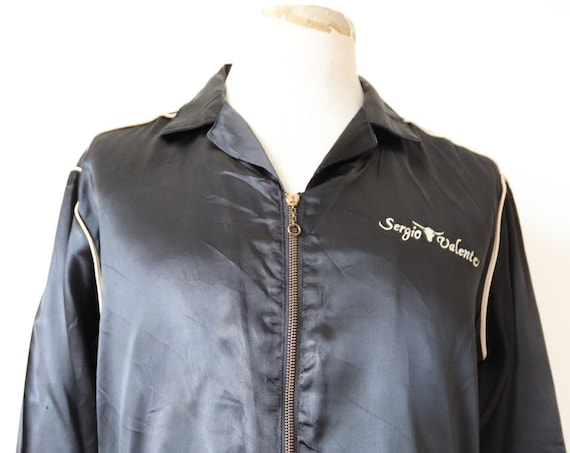 "Vintage 1980s 80s black satin zip up bomber jacket Sergio Valente long horn cow 46"" chest"