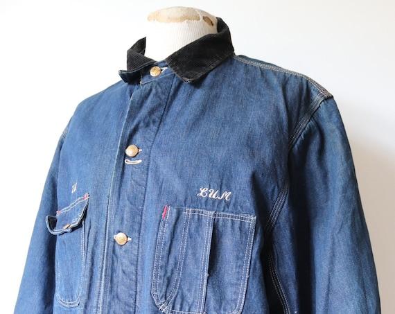 "Vintage 1960s 60s Sigma Delta Tau indigo denim blanket lined work jacket triple stitched workwear chore 50"" chest"