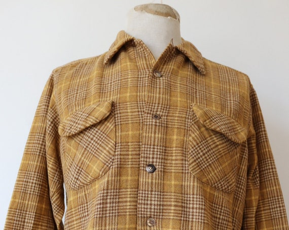 "Vintage 1970s 70s mustard Pendleton plaid checked wool board shirt 44"" chest rockabilly loop collar made in USA"
