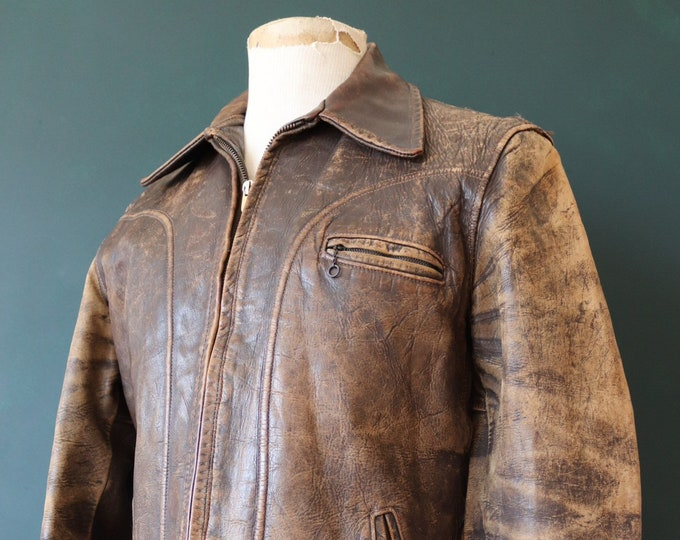 "Featured listing image: Vintage 1950s 50s german short brown horsehide leather jacket half belt patina faded rockabilly 38"" 40"" 42"" chest biker motorcycle"