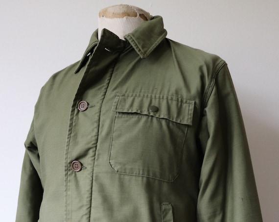 "Vintage 1950s 50s 1960s 60s khaki green sateen cotton USN US navy A2 deck jacket Conmar zipper military 41"" chest"