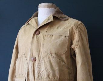 "Vintage 1950s 50s JC Higgins tan brown duck cotton canvas jacket hunting shooting American Talon zipper 48"" chest workwear chore work"