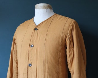 """Vintage 1970s 70s mustard tan brown Czech army tank liner quilted padded jacket military 40"""" chest work workwear chore"""
