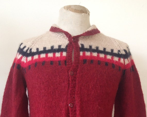 """Vintage 1960s 60s mohair wool handknitted button up cardigan burgundy maroon red pink unisex 36"""" chest small shawl collar"""